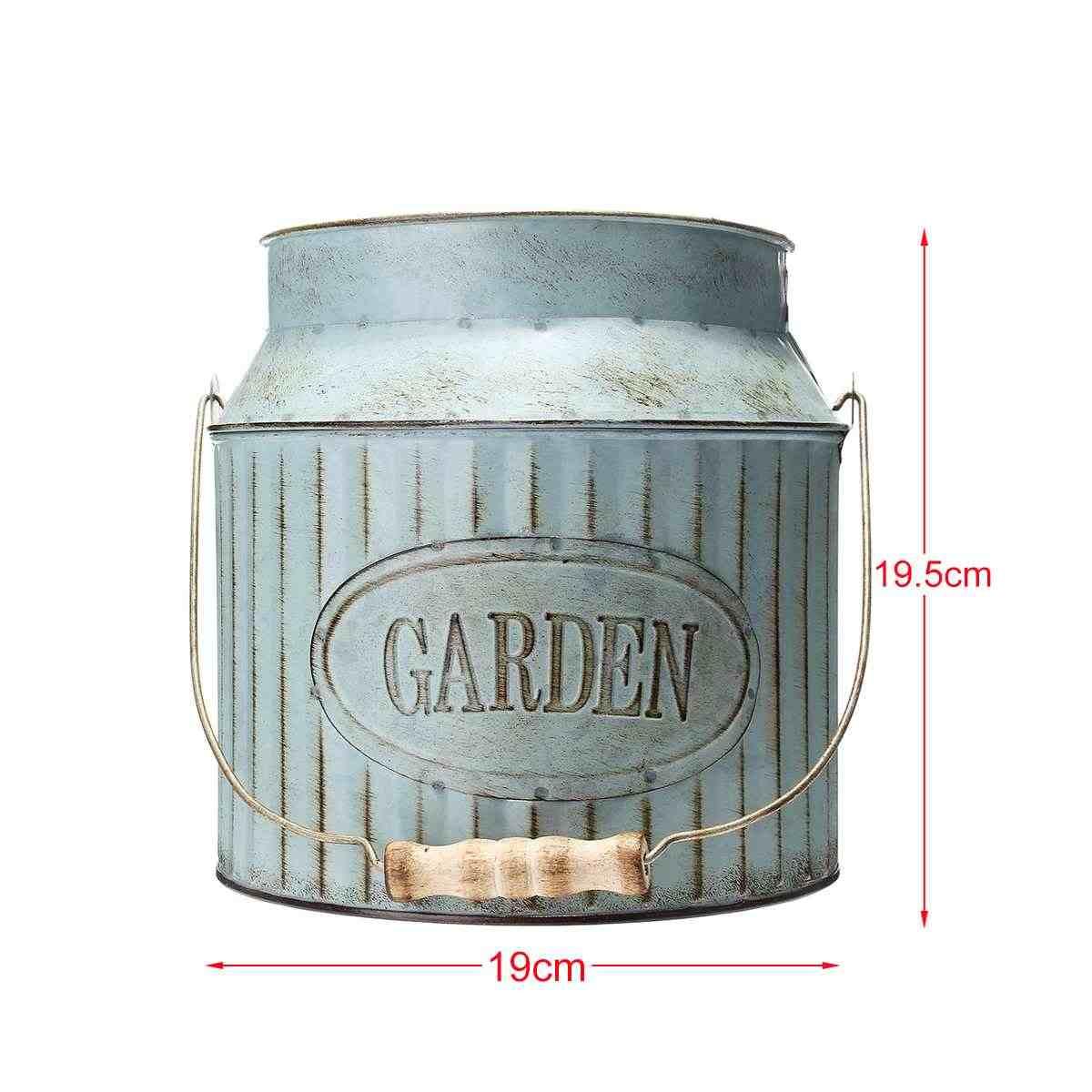 ヴィンテージ農村スタイル鉄ハンドルフラワーガーデンみすぼらしい花瓶ポット多肉植物植物バケツプランター装飾植木鉢テーブル装飾
