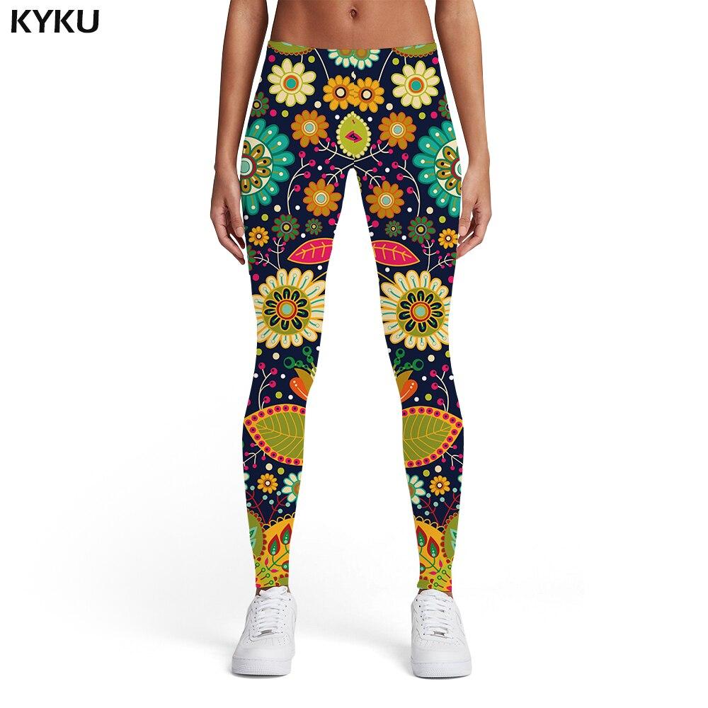 KYKU Flower   Leggings   Women Vintage Printed pants Colorful Spandex Harajuku Sport 3d Print Womens   Leggings   Pants Fitness