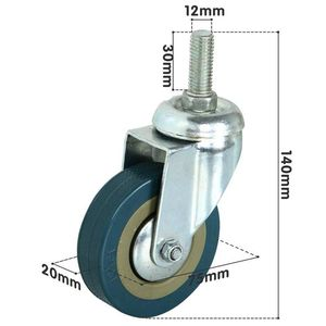 Image 2 - Rotatable castors made of heavy steel and PVC 75mm casters with brake casters for furniture, set of 4 (support wholesale discoun