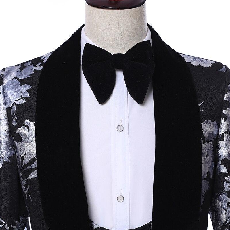 Костюм Homme 2019 новейший дизайн пальто брюки Terno Masculino Slim Fit 3 шт костюм черный принт Пейсли мужские костюмы с брюками - 5