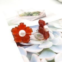 Stud-Earrings Agate-Flowers Natural-Stone Freshwater-Pearl 925-Sterling-Silver Classic