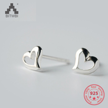 Factory Price 100% 925 Sterling Silver Fashion Minimalism Hollow Heart Stud Earring Fine Jewelry for Female