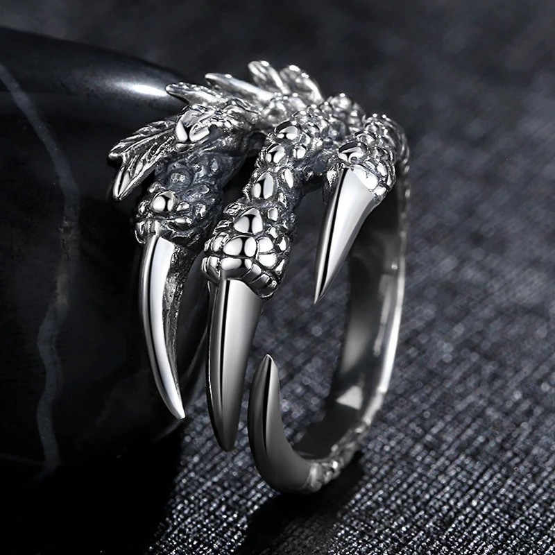 Talon Punk Rock Rings Mens Gothic Jewelry Dragon Claw Ring For Men Engagement Ring Wedding Promise Rings For Women Gifts Female