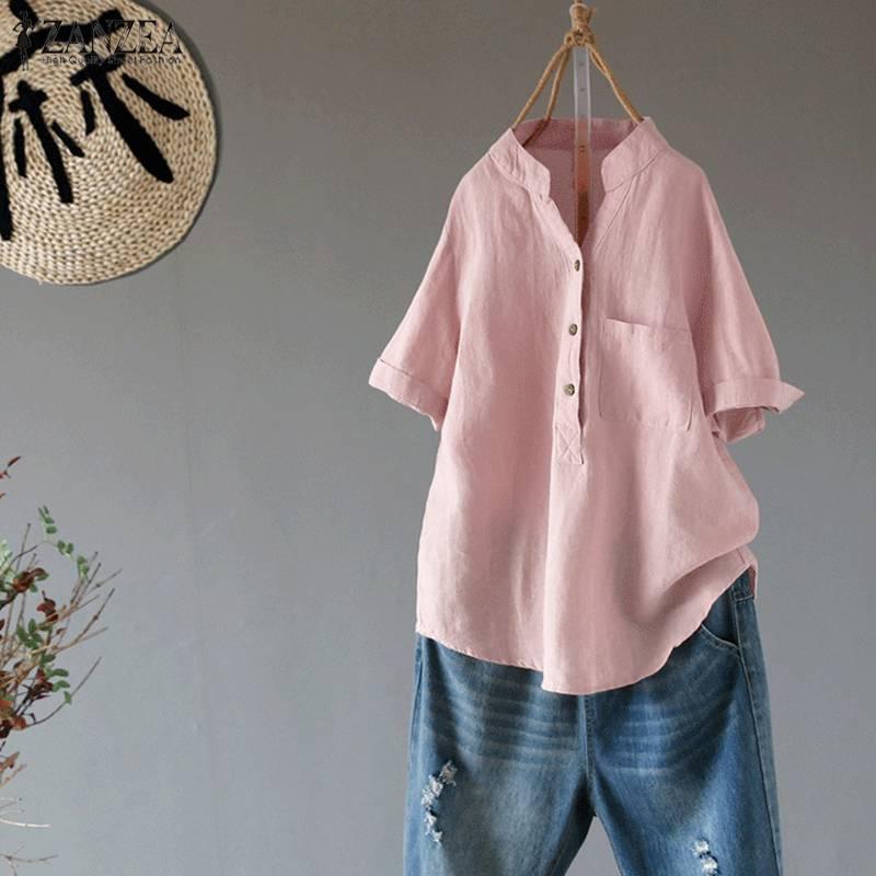 ZANZEA Summer Elegant Women V Neck Short Sleeve Loose Blouse Solid Ladies Casual Shirt Cotton Linen Top Robe Femininas Blusas