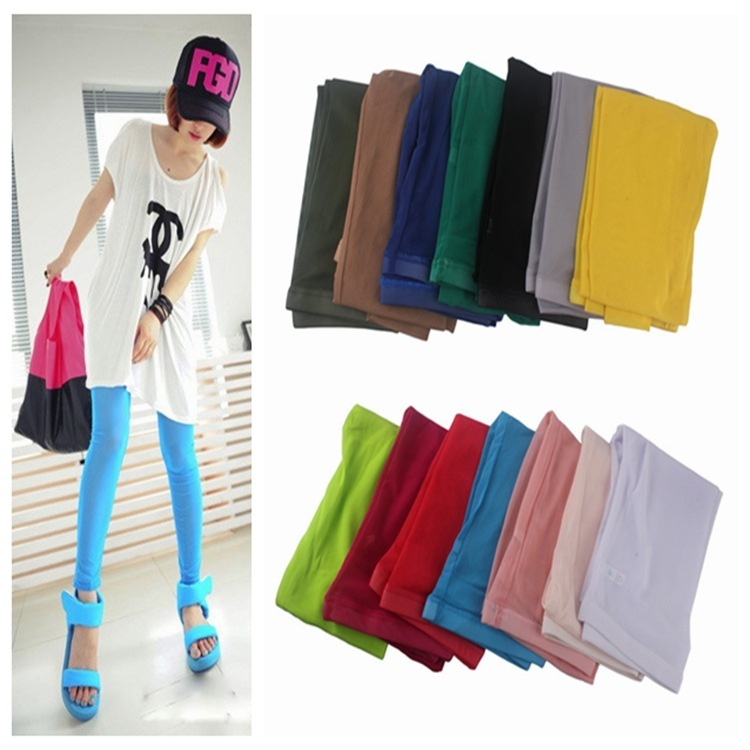 High Elastic Waist Spring Summer leggings women Pants New Fashion Casual Pattern Ultrathin Gauze  Candy Color Pants mujer
