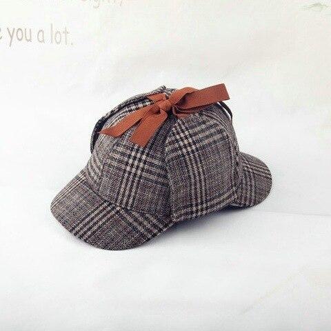 2019 New Brand Sherlock Holmes Hat Deerstalker Tweed   Baseball     Cap   Sherlock Cosplay Detective   Cap   Novelty Accessories Sombrero