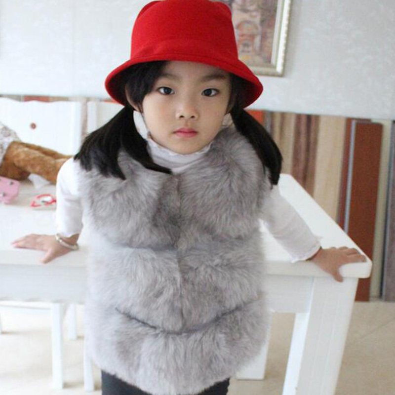 Children's Real Fox Fur Vest Baby Girls Autumn Winter Warm Short Fox Fur Vest Clothing Vest Kids Solid O-Neck Thick Vests V#3