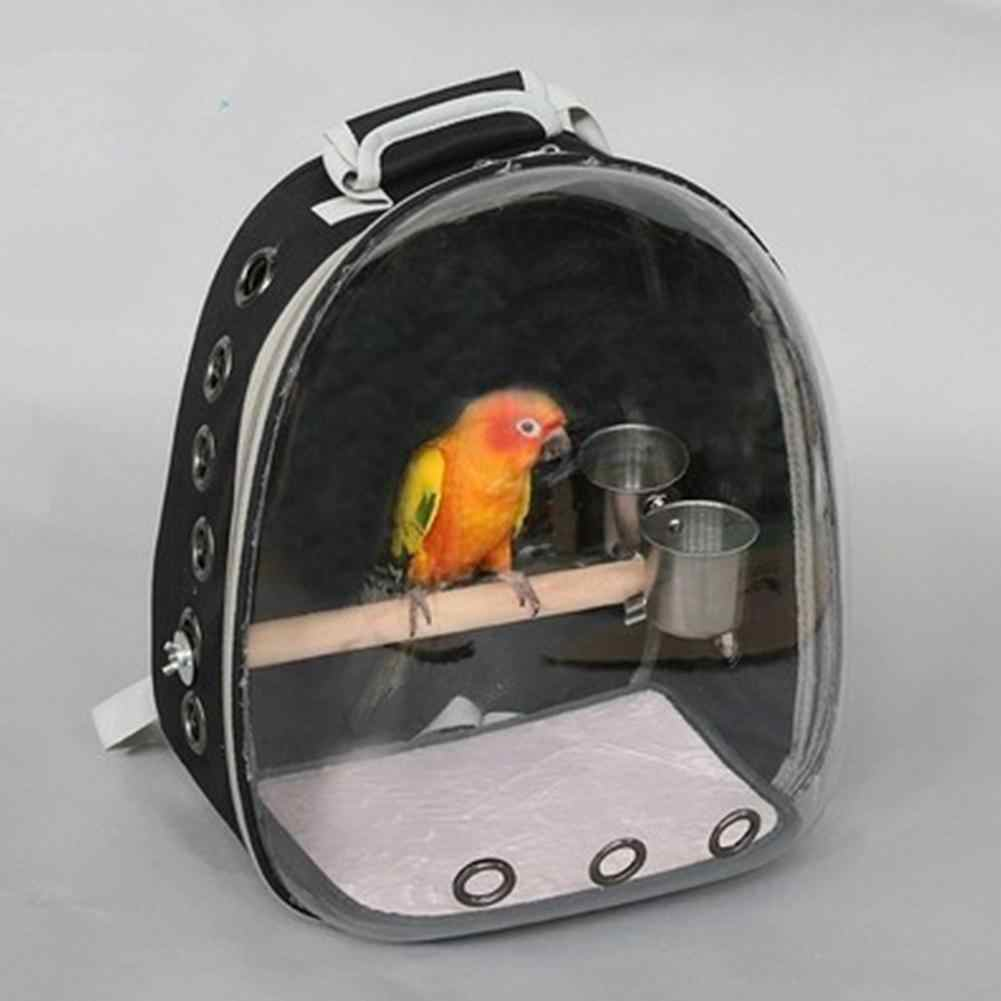 Newest Black Space Capsule Transparent Carrying Backpack Breathable 360 Degree Sightseeing Pet Parrot Carrier Bird Travel Bag