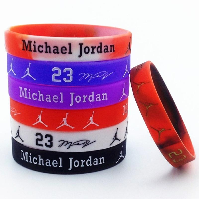 100 pcs 농구 스타 조던 실리콘 팔찌 팔찌 전자 패킷으로 무료 배송-에서팔찌 포장부터 쥬얼리 및 액세서리 의  그룹 1