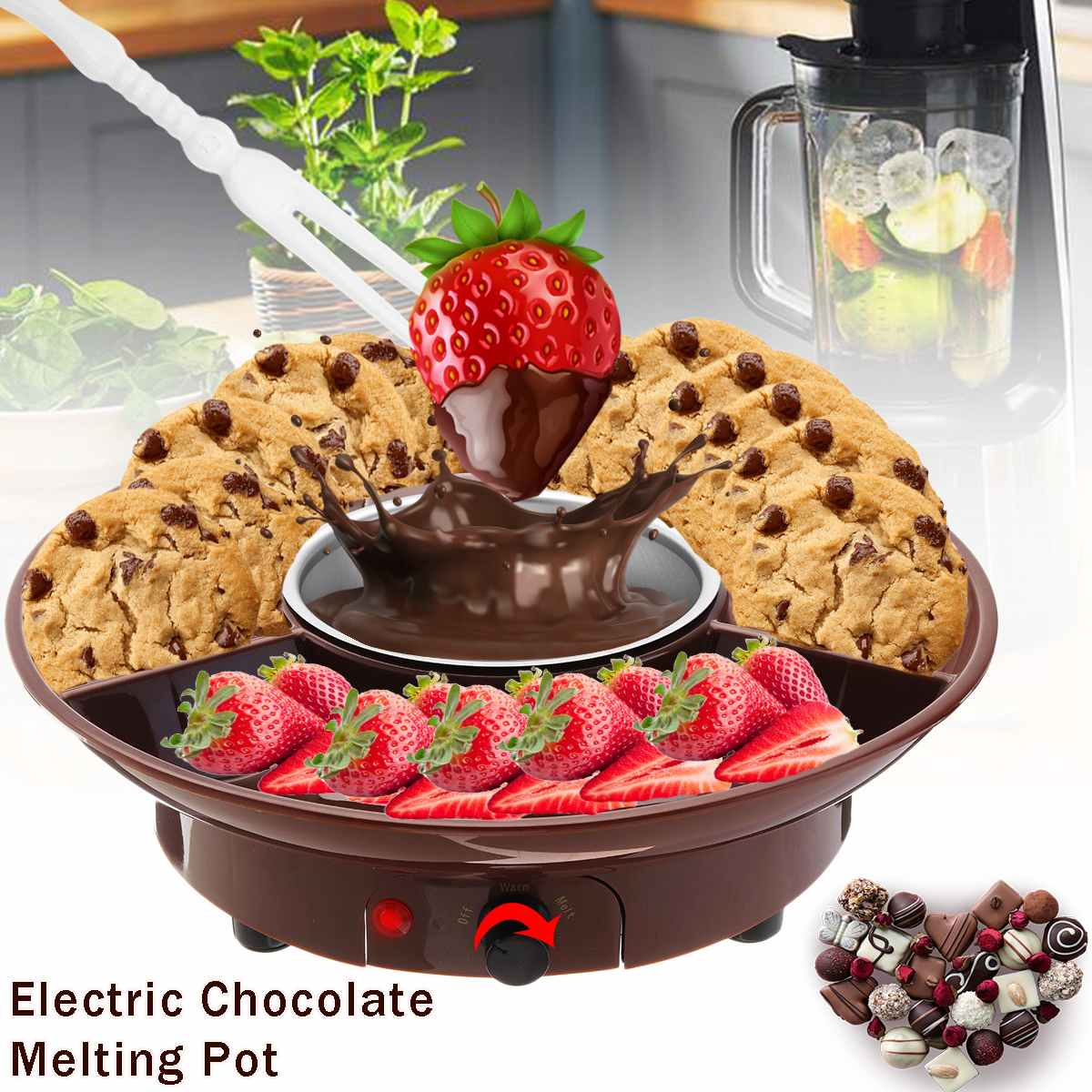 230V 50Hz 260ml Electric Melting Pot Chocolate Fondue Maker Candy Dessert Cheese Fountain Boiler ABS+Stainless Steel Adjustable