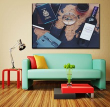 Canvas Wall Art Painting Living Room Home Decor Framework 1 Piece Map And Passport Wine Poster HD Print Modular Picture