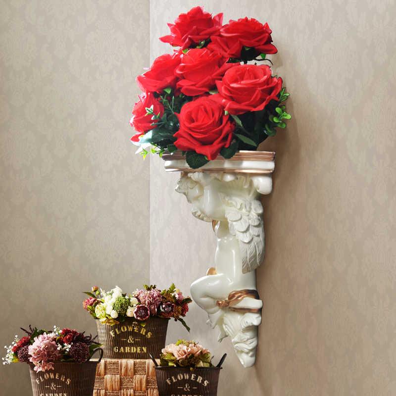المنزل جدار الزهور الاصطناعية الزخرفية الجرف Pendart لوحات فنية معلقة الراتنج جدارية الحرفية الزفاف غرفة المعيشة oالحلي جدار زهرية