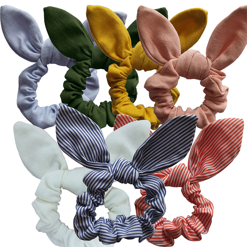 LNRRABC Girls/Women Bunny Ear Hair Scrunchie Knot Bow Hair Band Hair tie Bows Rabbit Ear Elastic Ponytail Holder Bands Hair bow