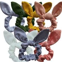 LNRRABC Girls/Women Bunny Ear Hair Scrunchie Knot Bow Band tie Bows Rabbit Elastic Ponytail Holder Bands bow