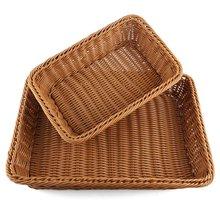 KSFS Bread Basket 2Pcs Rectangle Imitation Rattan Woven Storage Basket For Fruit Food Vegetables Large Poly Wicker Bread Basket