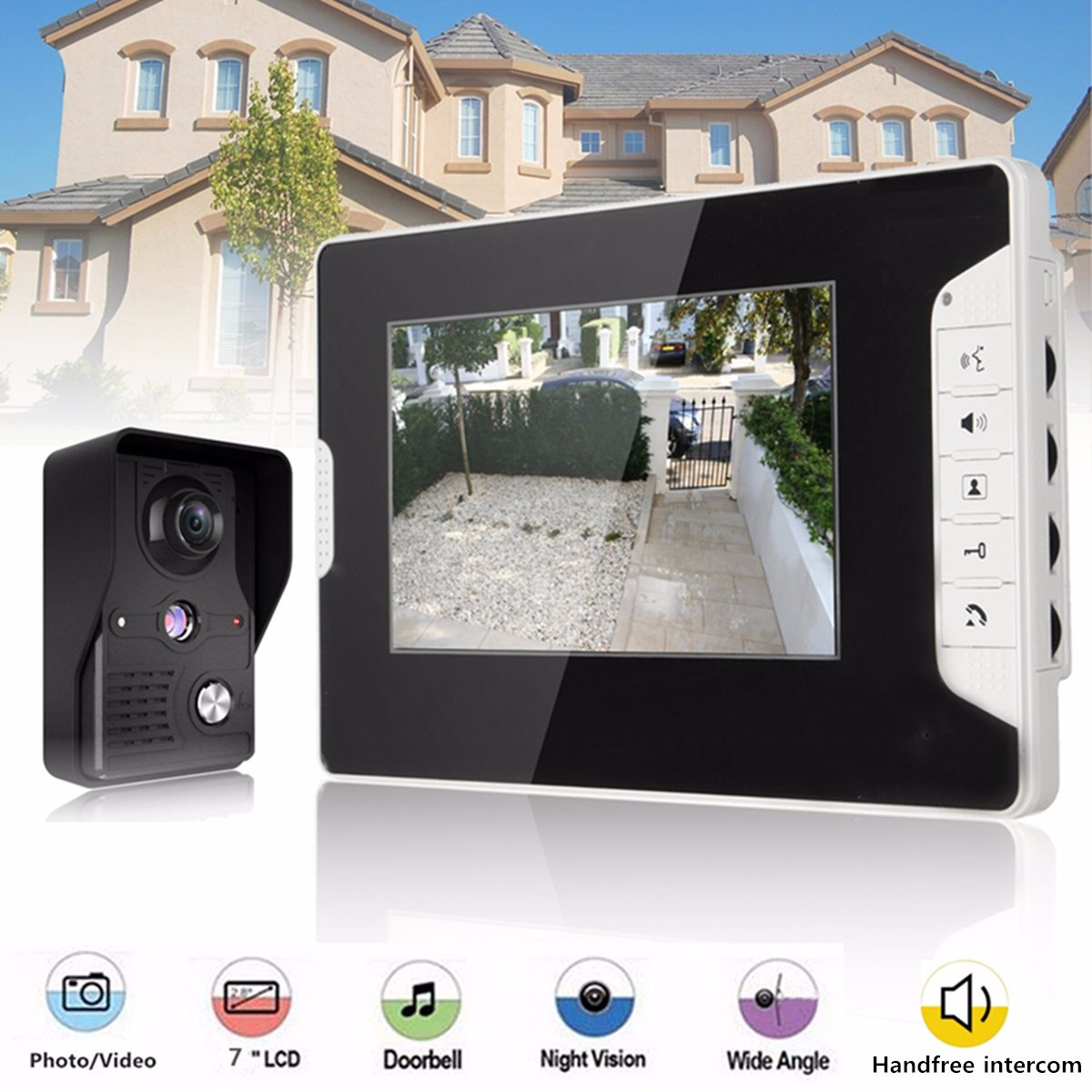 7 Inch LCD Video Doorbell Intercom IR Camera Monitor Night Vision Home Video Door Viewer Video-ey Security