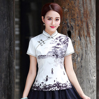 SHENG COCO Chinese Ink Painting Tops Summer Women Cheongsam Style Tops Literature Tang Costume Short Sleeve Shirt XXXL XXL XL