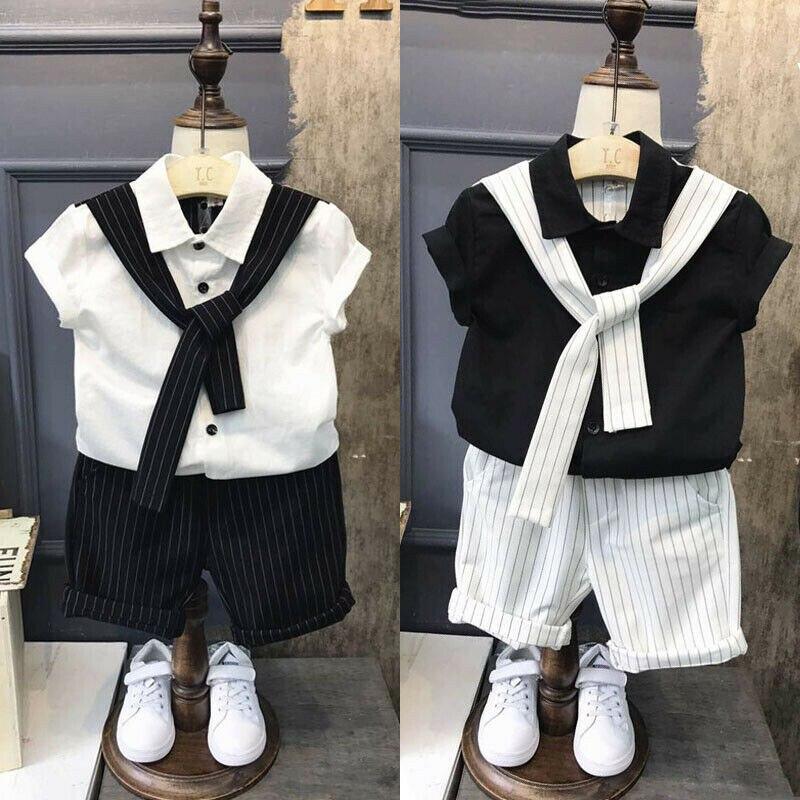 0-7y Kinder Baby Jungen Anzug Outfits Sommer Kurzarm Tops Tie Shirts + Gestreiften Shorts 2 Pcs Sets Jungen Kleidung Gentleman Blazer Anzug