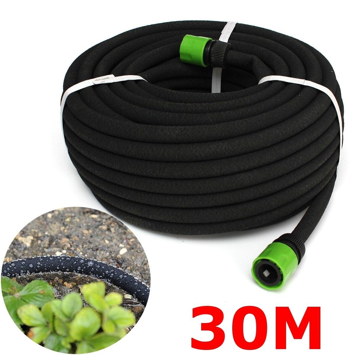 30M Black Porous Irrigation Soaker Hose Watering Dripper Pipe Lawn Garden Tool Equipment