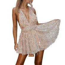 Mini Dress Party Tassel Summer Women Club Wear dresses Sexy Sequined Dresses Backless Halter Black Gold