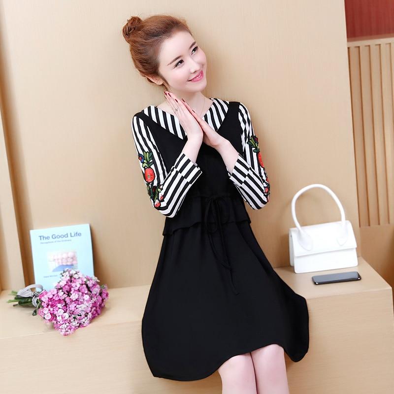 Arc line 2019 Élégant Broderie Femmes Black 5xl Misslymi Robes Coréen Bikinis Florale Rayé D'été Xl Grande Patchwork Taille A wvx8q6T