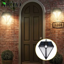 DCOO Solar Power Outdoor 6LED Lights PIR Motion Sensor Light Waterproof Wireless Security Diamond Design Wall Porch Lamp