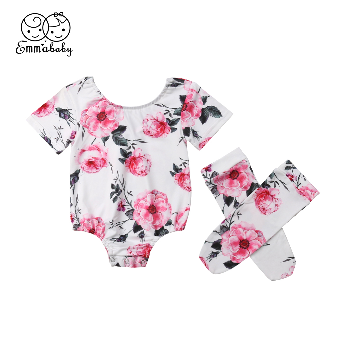 New Cute Newborn Infant Baby Girls Floral Bodysuit Jumpsuit Clothes Socks Outfits