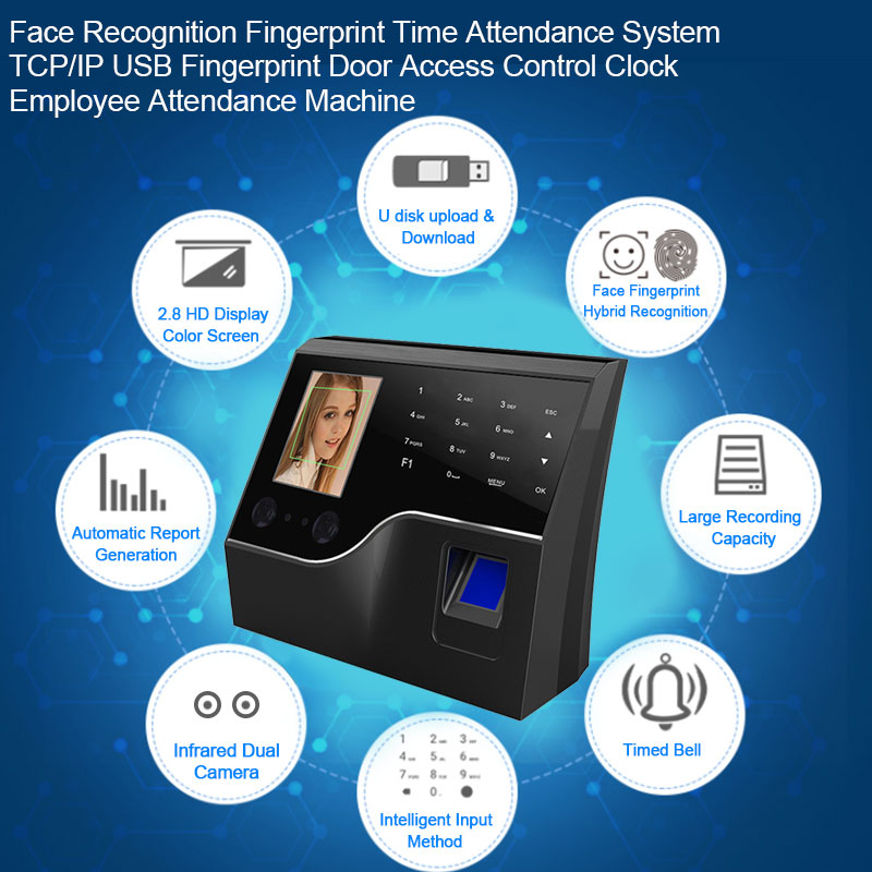 Face Recognition Fingerprint Time Attendance System TCP/IP USB Fingerprint Door Access Control Clock Employee Attendance Machine