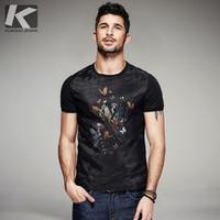 KUEGOU 2019 Summer Cotton Patchwork Yarn Black T Shirt Men Tshirt Brand T shirt Short Sleeve Tee Shirt Fashion Clothes Top 7053