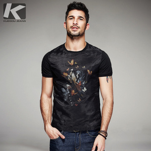 Image 1 - KUEGOU 2020 Summer Cotton Patchwork Yarn Black T Shirt Men Tshirt Brand T shirt Short Sleeve Tee Shirt Fashion Clothes Top 7053