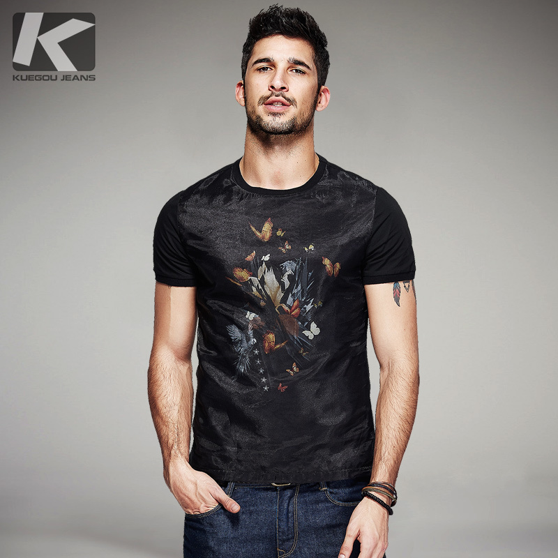 KUEGOU New Summer Mens Fashion T-Shirts Patchwork Yarn Print Black Brand Clothing Man's Short Sleeve Slim T Shirts Top Tee 7053