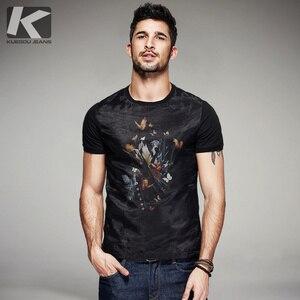 Image 1 - KUEGOU camiseta negra de hilo de retales de algodón para hombre, camiseta de marca para hombre, camiseta de manga corta, camiseta de moda 2020