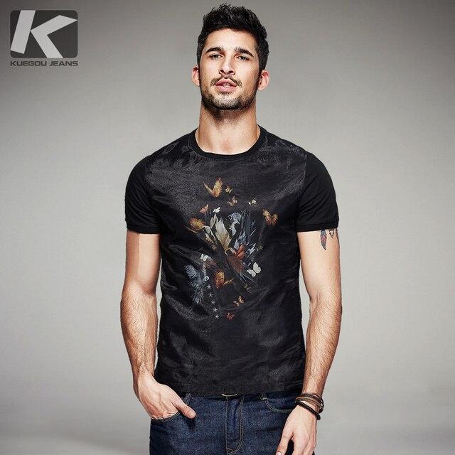 KUEGOU camiseta negra de hilo de retales de algodón para hombre, camiseta de marca para hombre, camiseta de manga corta, camiseta de moda 2020