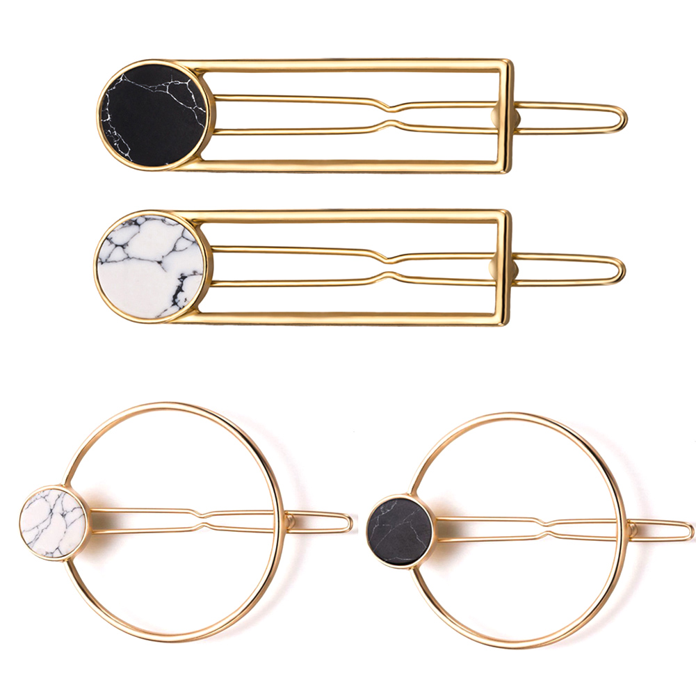 DIY Fashion Geometric Hairgrips Metal Circle Square Hair Clip Natural Hairpins Barrette Vintage Stone Lady Hairgrips Headwear