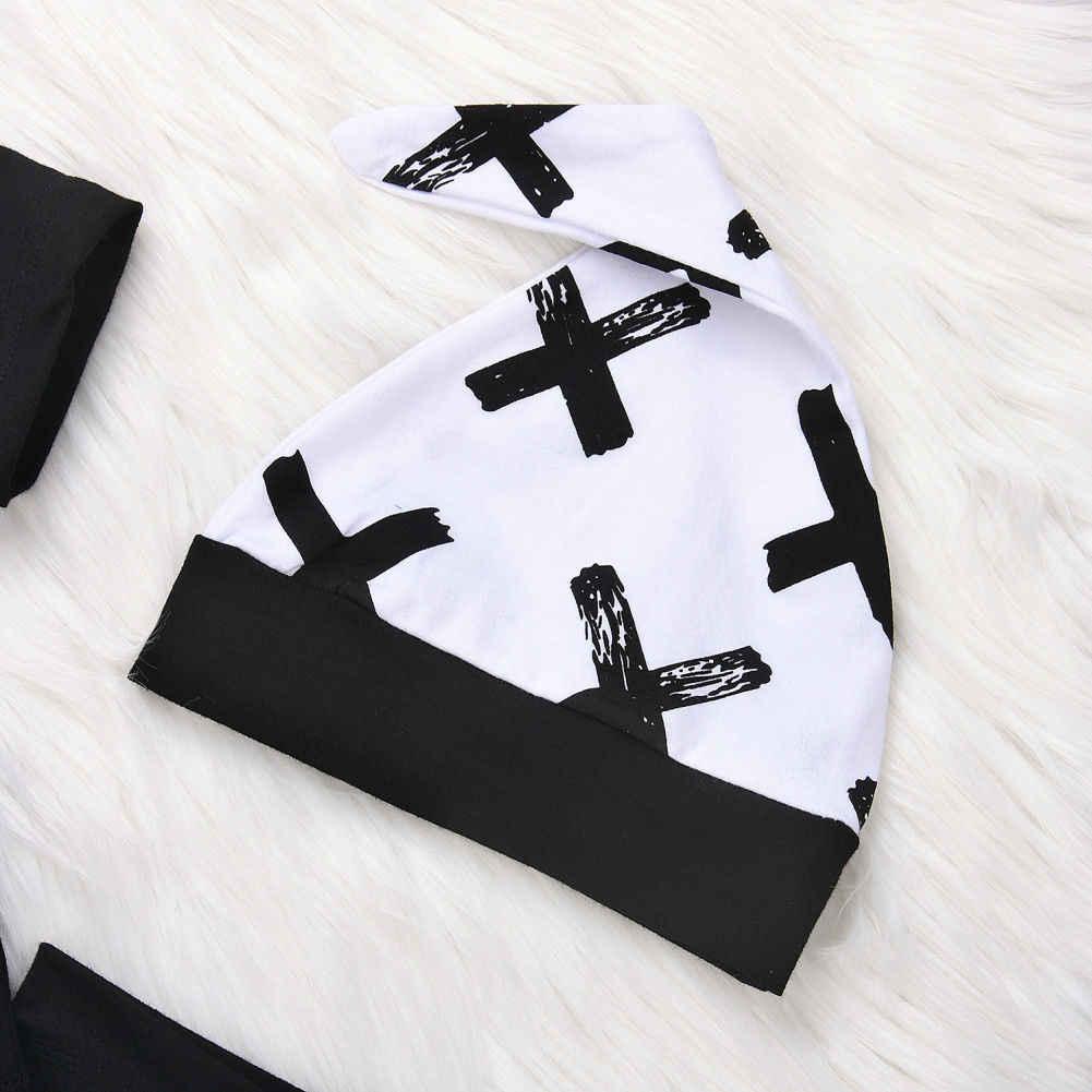 Pudcoco ילד סט 0-24M 3Pcs יילוד תינוק בני כותנה למעלה Romper מכנסיים חותלות תלבושות בגדים