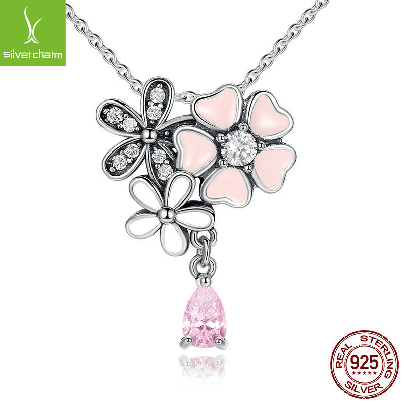 100% Real 925 Sterling Silver Poetic Daisy Cherry Blossom Pendant Necklaces With Pink Cz For Women Fashion Jewelry Gift100% Real 925 Sterling Silver Poetic Daisy Cherry Blossom Pendant Necklaces With Pink Cz For Women Fashion Jewelry Gift