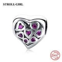 Charme silber 925 rosa herzform perlen Fit Ursprüngliche Pandora Armband Berloques Authentische anhänger Schmuck valentinstag Geschenke