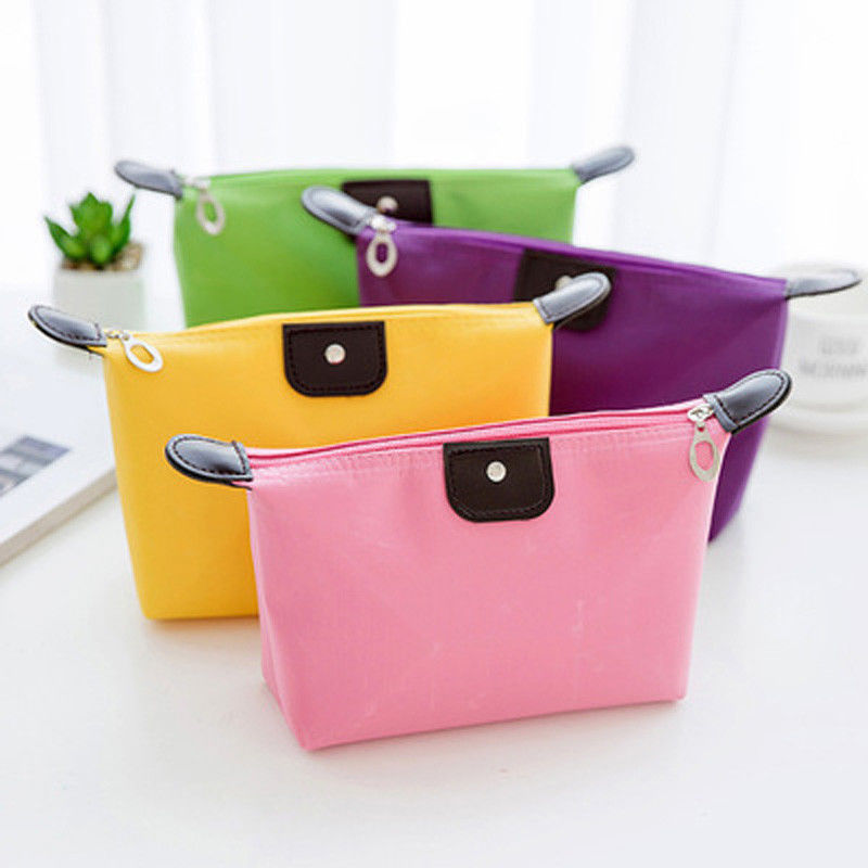2019 New Waterproof Cosmetic Bags Women Solid Color Makeup Bag Casual  Pencil Case Toiletry Storage Bag