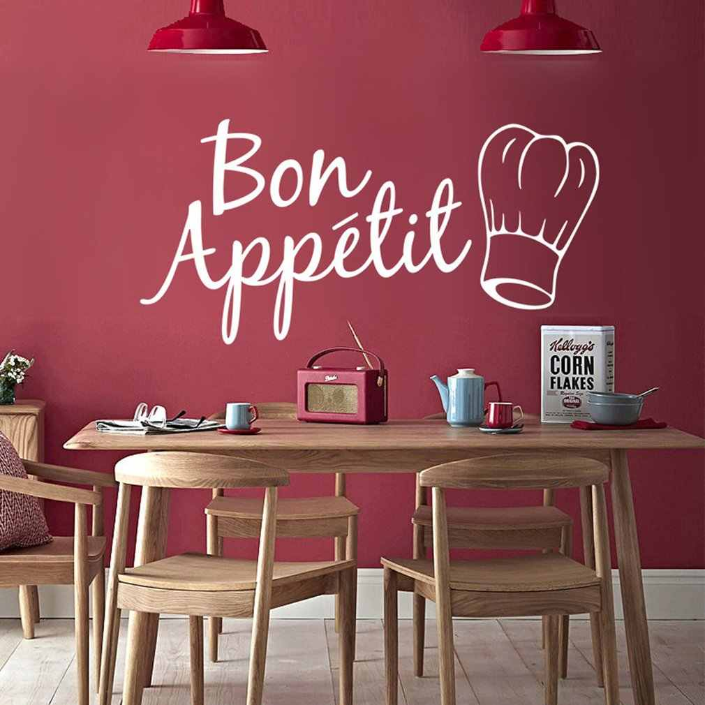 Image Room Decoration Bon Appetit Food Wall Stickers For Kitchen Restaurant Dining Room Decoration Diy Vinyl Adesivo Waterproof Wallpaper Home Decor
