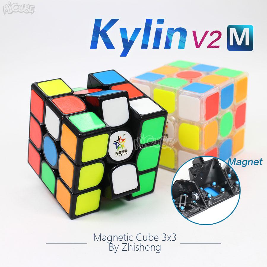Yuxin Zhisheng Kylin V2 3x3x3 Velocidade Cubo Mágico Cubo Magnético Ímã Cubo Magico 3x3 jogo de Puzzle Stickerless Preto Transparente