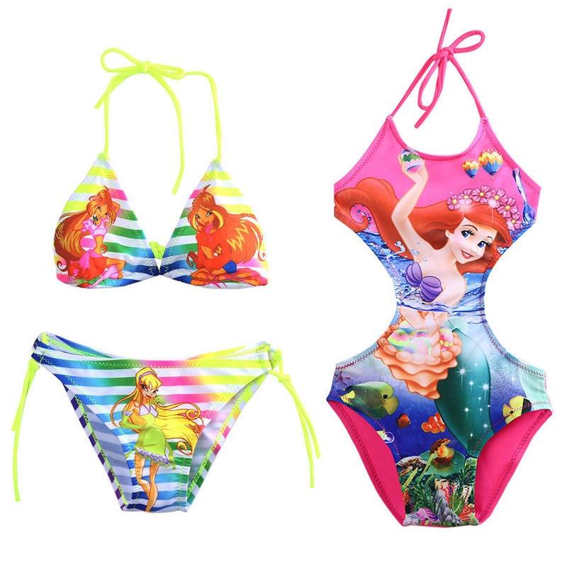 Beauty Mermaid Girls Halter One-Piece Suits Cartoon Print Tankini Swimsuit Children Summer  Swimwear Swimming Costume Bathing(China)