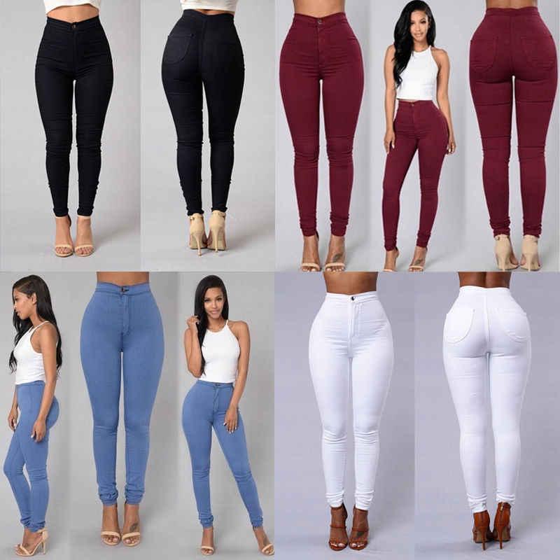 SıCAK SATıŞ Kadın Kot Sıska Jeggings Pantolon Yüksek Bel Streç Kot Ince Kalem Pantolon