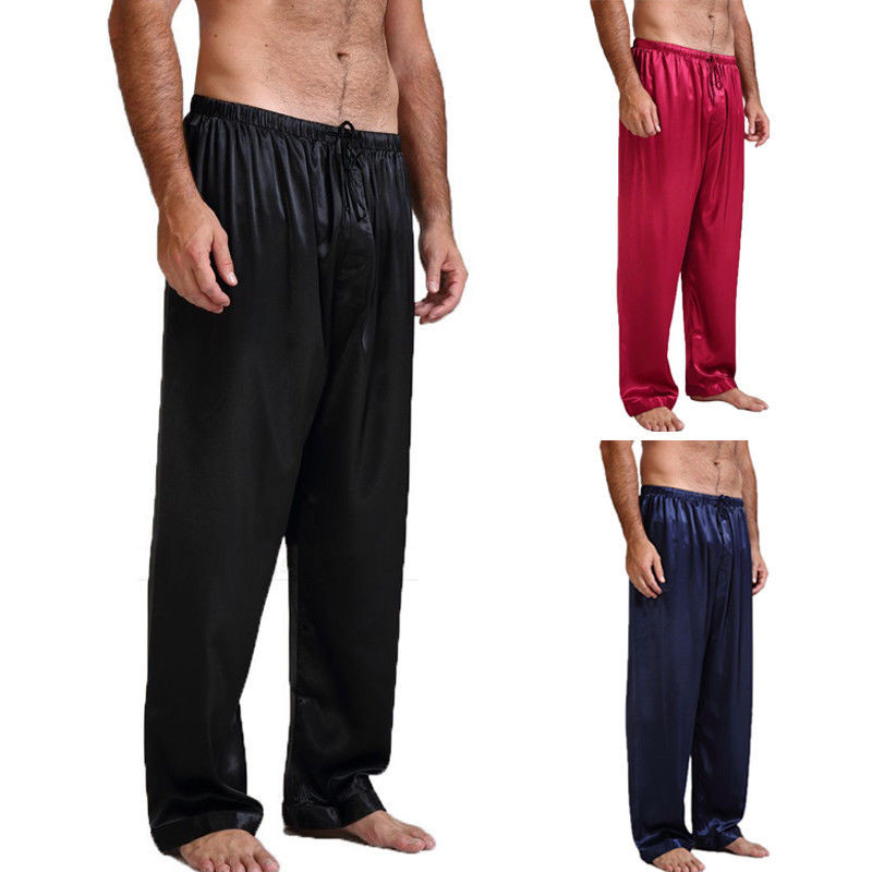 Mens Silk Satin Pajamas Pyjamas Lounge Pants Sleep Bottoms Nightwear Trousers Loose