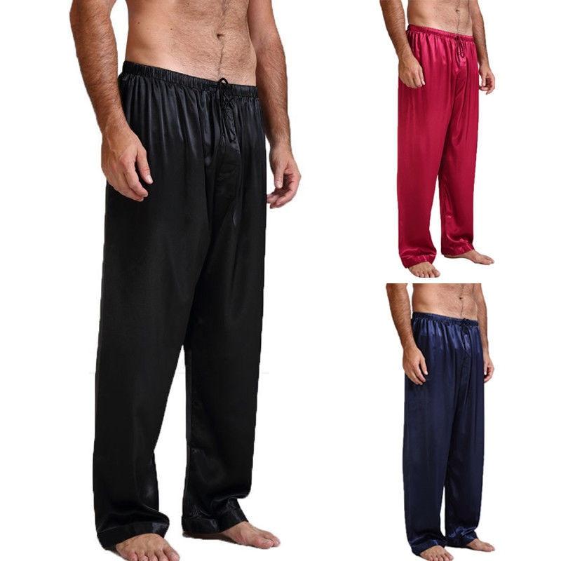 Mens Silk Satin Pajamas Pyjamas Lounge Pants Sleep Bottoms Nightwear Trousers Loose