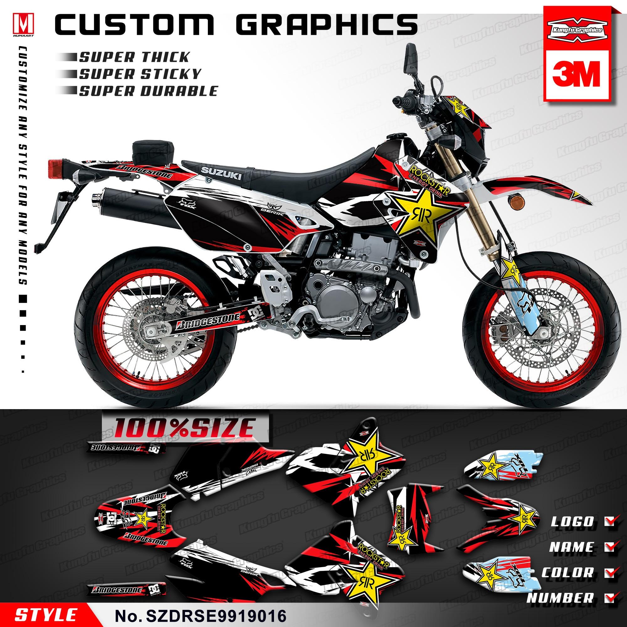 kungfu graphics mx racing decals kit custom stickers for suzuki drz 400 sm  supermoto drz400e 1999