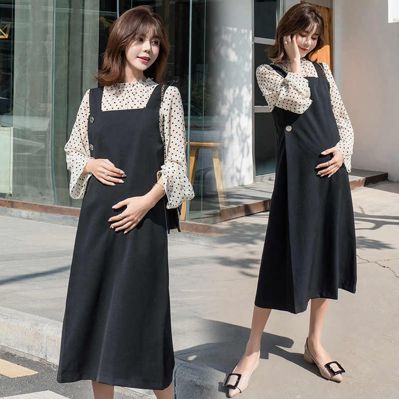 ca2d870077746 ... Pengpious 2019 spring autumn long loose pregnant women suits long sleeve  polka dot shirts+black ...