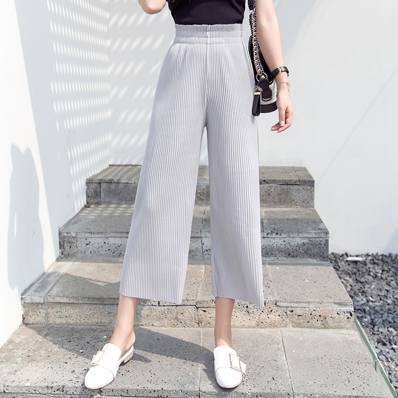 Pleated   Pant   2019 Spring Summer Fashion Women   Wide     Leg     Pants   Female Casual Elegant Solid Elasitc Waist Office Lady Comfy Trouser