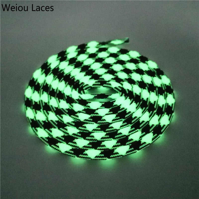 Weiou Sport Men Women Round Glow In The Dark Shoe Laces Two Colors Mixed Fluorescent Luminous Shoelace For Sneakers Canvas Shoes