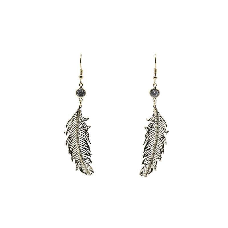 สไตล์เรียบง่ายโลหะ Feathers Rhinestone Dangle ต่างหูหญิง 2018 แฟชั่นเครื่องประดับต่างหูผู้หญิง Silver Silver Brincos