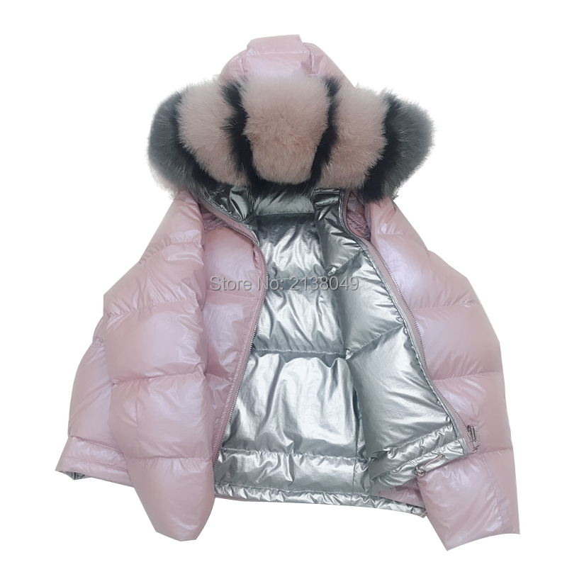 Ladies Winter Jacket Down Coat Actual Fox Fur Collar Down Parka Outerwear Thick Heat Winter Clothes Style Duck Down Jacket()